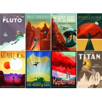 "Stickers (8 pics 2.5""x3.5"" each) Vintage Travel Poster SciFi"