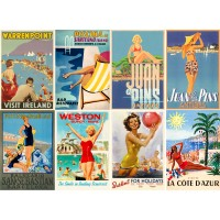 "Stickers (8 pics 2.5""x3.5"" each) Vintage Travel Poster Europe"