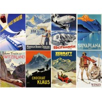 "Stickers (8 pics 2.5""x3.5"" each) Vintage Travel Poster Alpine"