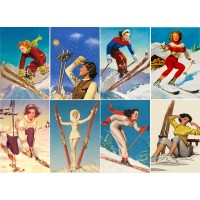 "Stickers (8 pics 2.5""x3.5"" each) Vintage Sport Poster Skiing Girl"