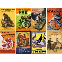 "Stickers (8 pics 2.5""x3.5"" each) Vintage Sport Poster Moto Speed"