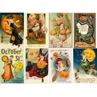 "Stickers (8pics 2.5""x3.5""each) Vintage Halloween Poster"