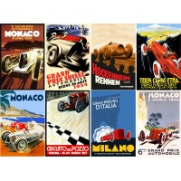 "Stickers (8 pics 2.5""x3.5"" each) Vintage Sport Poster Racing Prix"