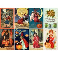 "Stickers (8pics 2.5""x3.5""ea) Vintage Halloween Poster Witch"