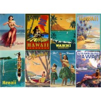 "Stickers (8pics 2.5""x3.5""each) Vintage Travel Poster Hawaii"