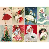 "Stickers (8pics 2.5""x3.5""each) Vintage Christmas Girl Gift"