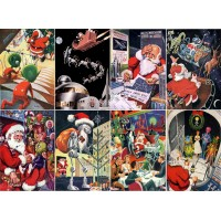 "Stickers (8pics 2.5""x3.5""each) Vintage Christmas Santa Alien"