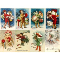"Stickers (8pics 2.5""x3.5""each) Vintage Christmas Kids Gifts"