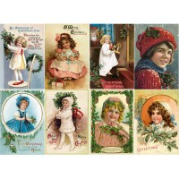 "Stickers (8pics 2.5""x3.5""each) Vintage Christmas Girls Gift"
