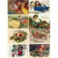 "Stickers (8pics 2.5""x3.5""each) Vintage Christmas Santa Car"