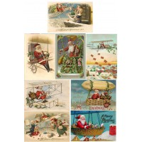 "Stickers (8pics 2.5""x3.5""each) Vintage Christmas Santa Fly"