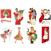 "Stickers (8pics 2.5""x3.5""each) Vintage Christmas Girl Happy"