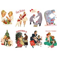 "Stickers (8pics 2.5""x3.5""ea) Vintage Christmas Happy Family"