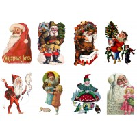 "Stickers (8pics 2.5""x3.5""each) Vintage Christmas Santa"