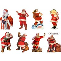"Stickers (8pics 2.5""x3.5""ea) Vintage Christmas Santa Happy"
