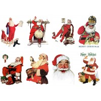 "Stickers (8pics 2.5""x3.5""each) Vintage Christmas Santa Rest"