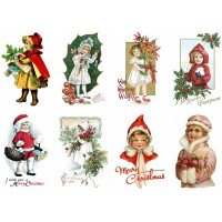 "Stickers (8pics 2.5""x3.5""each) Vintage Christmas Happy Kids"