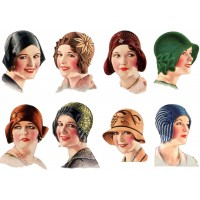 """Stickers (8pics 2.5""""x3.5""""each) Vintage Fashion Hat Millinery"""