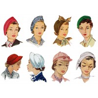 "Stickers (8pics 2.5""x3.5""each) Vintage Fashion Hat Millinery"