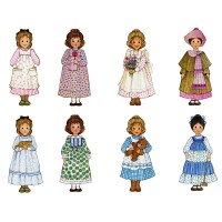 "Stickers (8pics 2.5""x3.5""each) Vintage Girl Dolls"