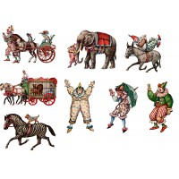 "Stickers (8pics 2.5""x3.5""each) Vintage Circus Clown Animals"