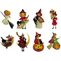 "Stickers (8pics 2.5""x3.5""each) Vintage Halloween Witch"