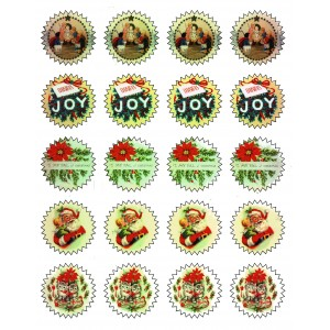 """Gift Tag Stickers (20 stickers 1.75"""" each) Vintage Christmas"""