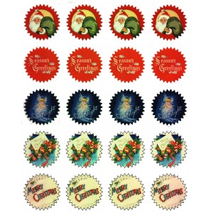 "Gift Tag Stickers (20 stickers 1.75"" each) Vintage Christmas"