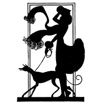 "Girl With Dog. Silhouette Art Nouveau (2.5"" x 3.5"")"