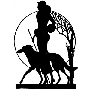 """Girl With Dog. Silhouette Art Nouveau (2.5"""" x 3.5"""")"""