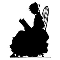 "Girl Reading Book. Silhouette Art Nouveau (2.5"" x 3.5"")"