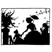 "Outdoor. Silhouette Art Nouveau (2.5"" x 3.5"")"
