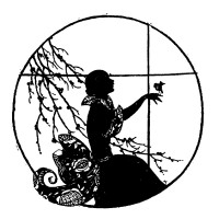 "Girl with Bird. Silhouette Art Nouveau (2.5"" x 3.5"")"