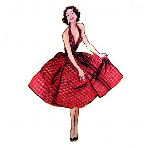 "Fashion Girl Fifties Vintage (2.5"" x 3"")"