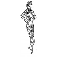 "Vintage Fashion Girl - Fifties 13 (2"" x 4"")"