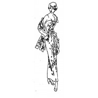 "Vintage Fashion Girl - Fifties 14 (2"" x 4"")"