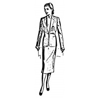 "Vintage Fashion Business Suit 02 (2"" x 4"")"