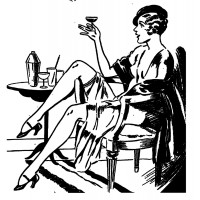 "Girl with Champagne. Noir series (2.5"" x 2.5"")"