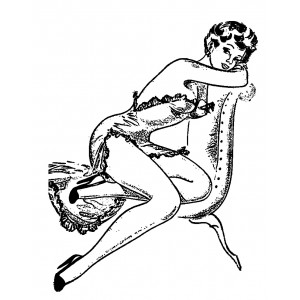 "Girl Reclining on Coach (2.5"" x 3.5"")"