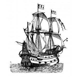 "Sailship Galleon Engraving (2.5"" x 3"")"