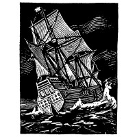 "Sailship in Night Storm (2.5"" x 3.5"")"