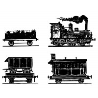 "Steam Train and Cars Engravings [pack of four] (2"" x 2"")"