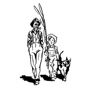 """Boy and Dad Going Fishing [large size] (2.5"""" x 4"""")"""