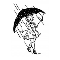 "Girl Under Umbrella [small size] (2"" x 2.5"")"