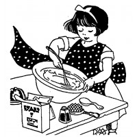 "Girl Cooking (2.5"" x 3"") Young Helper"