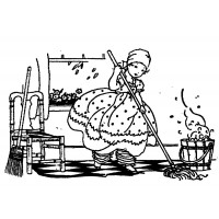 "Girl Cleaning House (2.5"" x 3"") Young Helper"