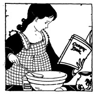 "Girl Cooking (2.5"" x 2.5"") Young Helper"