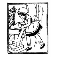"Girl Cleaning Wardrobe (2.5"" x 3"") Young Helper"