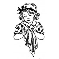 "Girl Embrodier Sewing (2.5"" x 3"") Young Helper"