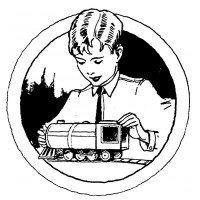 "Boy Play Steamtrain (2.5"" x 2.5"") Art and Craft"